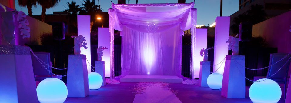 Event wedding reception with LED balls at MEET Las Vegas